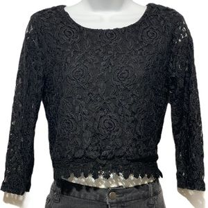 Forever 21 Black Lace Top Sheer Long Sleeve Shirt